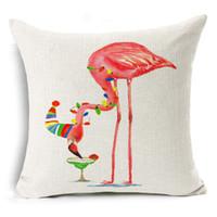 Wholesale Chairs Black Silver Color - Flamingos Cushion Cover Cotton Linen Decorative Animal Pillowcase Chair Seat Waist Square 45x45cm Pillow Cover Home Textile
