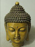 """Wholesale Chinese Brass Statues - 8"""" Chinese Tibetan Buddhism Bronze Gilt Shakyamuni Sakyamuni Buddha Head Statue"""