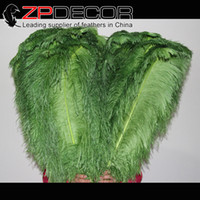 Wholesale Large Ostrich Plumes - ZPDECOR Feather Bulk 70-75cm(28-30 inch) Plus Size Smooth and Soft Dyed Olive Green Large Ostrich Feather Plume For Centerpieces