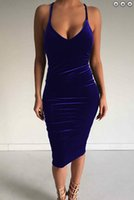 Wholesale Low Cut Maxi Party Dresses - The spring and summer of 2017 new women's low cut V collar dress sexy velvet skirt nightclub Evening Party Dress