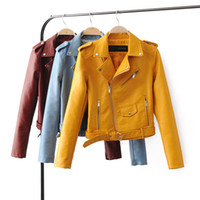 Wholesale Pink Leather Jackets For Women - Wholesale-TOB PU leather jacket short for autumn&winter plus size L black&white&sky blue&pink 5 colors fashion women jacket