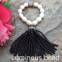 Wholesale Green Round Freshwater Pearls - FC072012 Onyx White Rice Freshwater Pearl Bracelet CZ Pave Fringle FC072207 Natural White Rice Pearl Round Garnet Bracelet CZ Pave Connector