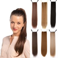 """Wholesale Wholesale Fake Hair Ponytail - Wholesale- Cheap 24""""Long Straight Synthetic Ponytail Tress Apply Hair Clips in Pony Tails Hairpiece Ribbon Ponytails fake Hair Extensions"""