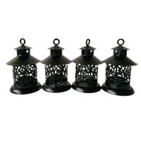 Wholesale Iron Lanterns For Weddings - Free shipping Cheap Metal candle holder Small Iron retro lantern home decoration Black color for wedding