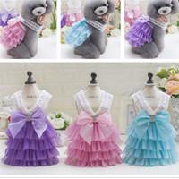 Wholesale Lace Vest Extra Large - Korea New Design Princess Dog Clothes Multilevel Teddy Puppy Lace Skirt