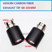 Wholesale Wholesale Car Mufflers - 2PCS 60mm Inlet 101mm Outlet Akrapovic exhaust tip Universal Carbon Fiber Car Exhaust Pipe Tail Muffler Tip