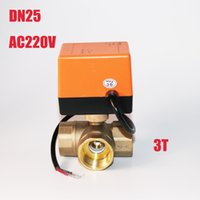 Wholesale Central Air Temperature - Newest DN25 G1.0 Tee Electric Valve AC220Volt,cold&hot Water Water vapor heat gas Central air conditioning Electric Ball Valve