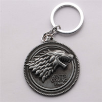 Wholesale Trendy Mens Rings - American drama Game of Thrones House Stark of Winterfell Mens Keychain Key Chain Ring Bag Charm Men Jewelry Chaveiro Chaveiros