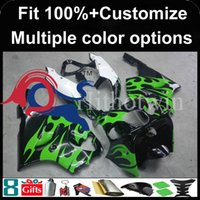 Wholesale 99 Zx7r Plastics - Injection molding green flames motorcycle cowl for Kawasaki ZX-7R 1996-2003 96 97 98 99 00 01 02 03 ZX 7R 1996 2003 ABS Plastic Fai
