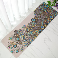 Printed oriental floor mats - Oriental Peacock Coral Long Hallway Porch Strip Carpets Kitchen Mat For Floor Bedroom Bedside Living Room Flannel Non Slip Large Area Rug