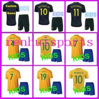 Wholesale Teen S - Brazil Kids Jerseys 2017 2018 child teens Shirt DAVID LUIZ D. COSTA NEYMAR JR OSCAR WILLIAN 17 18 10 or more free to send DHL