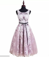 Wholesale Purple Quinceanera Decorations - Light Pink Lace Jewel Sleeveless Black waist decoration Organza Knee-Length Evening Prom Homecoming Dresses 2017 New Arrival