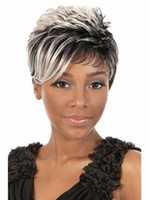 Wholesale 8 Inches Synthetic Ombre Grey Wavy Short Wigs for Black and White Women None Lace Front Wig Heat Resistant