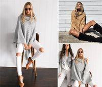 Wholesale Irregular Knitwear - 2017 Spring Women's Poncho Sweaters High Collar Irregular Design Stylish Knitwear Without Sash Turtleneck Ladies Sweaters PLUS Size