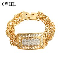 Wholesale Bridal Chain Jewellery - African Party Bridal Vintage Imitated Crystal Jewelry Bangle Women Gold Plated Bracelets Accessories New Jewellery Holiday