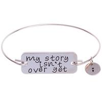hikaye bilezikleri toptan satış-Benim hikayem henüz bitmedi Bilezik Gümüş Altın Köpek Etiketi Mektup Bileklik Band Manşet Kadınlar için İlham Takı Damla Nakliye