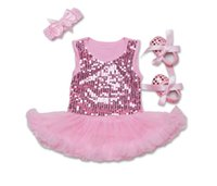 Wholesale Girls Pearl Dress Shoes - Newborn pink princess outfits baby girls sequins tulle tutu vest dress+Bows ribbon toddler shoes+Bows pearl hair hand 3pcs sets R0872