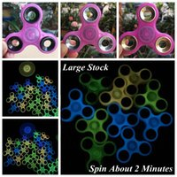 Wholesale Spinning Glow Toys - Colorful Luminous Hand Spinners Glow Hand Spinner Finger Spinner Finger Tri Spinner Colorful Spinning Decompression Toy CCA6088 30pcs