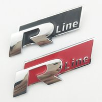 Wholesale Vw R Line Logo - OTOKIT 3D Metal R Line Logo Car Grill Badge Emblem Sticker for Volkswagen VW Polo Golf 5 6 7 Jetta MK5 MK6 POLO Passat B5 B6 B7