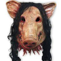 черные маски для лица оптовых-Wholesale-Scary Roanoke Pig Mask Adults Full Face Animal Latex Masks Halloween Horror Masquerade Mask With black Hair H-006