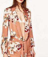 Wholesale Short Sleeve Woman Jacket Suit - 2017 new Women Jacket Coat Flower print Sashes Waist Orange Blazer suits fashion ladies Shawl Collar Slim fit Cardigan Outerwear With Belt
