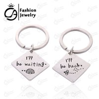 Wholesale Crystal Town - I will be back I'll be waiting Set of two long distance out of town worker KeyChain Keyring Deployment Gift 20set lot #LN1231