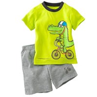 Wholesale Animal Bike Jersey - Green Crocodile Baby Boy Clothes Set Bike Children Tee Shirts Pants Suits Kids Outfit 100% Cotton Tops Panties 2 3 4 5 6 7 Years Jersey