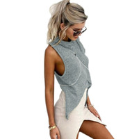 Wholesale Turtleneck Tops For Women - Wholesale-Summer 2016 Casual Turtleneck Women T shirt Sleeveless Knitted Crop Top Asymmetric Sexy Patchwork Tops Gray Tshirt For Ladies