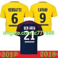 Wholesale G P S - Top quality DI MARIA Soccer Jersey 2018 Camisa de futebol Verrati Cavin i Silva Matuidi David Luiz football shirts 17 18 blue France P S g