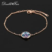 Wholesale Invisible Cut - Multicolor Round Cut Crystal Party Bracelets & Bangles 18K Rose Gold Plated Fashion Brand Vintage Party Jewelry For Women DFH170M