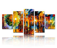Wholesale house art framing online - Hand Painted Modern Building Scenery Picture Art on Wall Abstract Canvas Oil Painting for House Wall Decoration No Frame