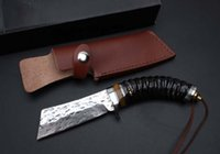 New Square Blade Damas Survival Straight Knife 59HRC Poignée de griffe Tactical Camping Hunting Survival Pocket Knife Gift Outils EDC