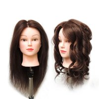 Wholesale Training Hair Dummy - Free Shipping Mannequin Dummy Brown 100% Human Hair Training Female Mannequin Head With Hair With Free stander