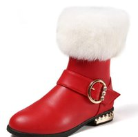 Wholesale Genuine Rabbit Fur Boots - 2017 winter new girls rabbit fur boots in the big children warm plus cashmere shoes pure black wild princess shoes