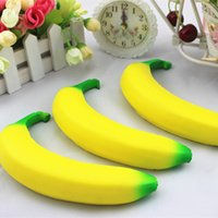 Wholesale Squishy Breads - Banana Squishy Slow Rising Xmas Decoration Cute Jumbo Simulate Phone Straps Pendant Squeeze Stress Stretch Bread Kids Toy Gift