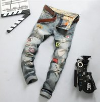 Wholesale Hot Slim Patch - Wholesale free shipping new fashion patch hole distressed jeans mens slim straight jeans designer high quality washed full lenght Hot Sale