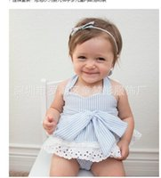 Wholesale Slipping Pants - Baby 2017 Summer Clothes Sets Infant Toddlers Slip Lace Dress+Big Bownot PP Pants Two Piece Sets Girl Clothes Sets
