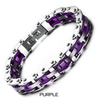 Wholesale Silicone Cuffs - Titanium & Silicone Men Motor Bicycle Chain Bracelets Cuff Wristbands Punk Jewelry Male Brace lace Motorcycles Pulsera 8 Color