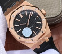 Wholesale Mens Dress Watch Brown Leather - Top Luxury JF Factory V3 Mens Automatic Cal.3120 Watch Men Rose Gold Black Dial 15400 Leather Royal 41mm Waterproof Crystal Dress Watches
