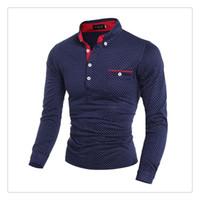 Wholesale Men S Polo Tshirt - Polo Tshirt Spring&autumn Fashion British Fashion Dot Mens Casual Sports Long Sleeves Golf Polo T-shirts US Size:XS-XL