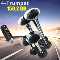 Wholesale Universal Car Horn - Universal 12V   24V 150 db 100 PSI Silver Chrome Plated Zinc Alloy 4 Trumpet Train Air Horn Kit For Car Vihicle AUP_418