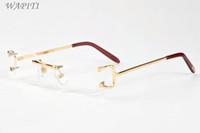 bağbozumu kenarsız güneş gözlüğü toptan satış-Erkekler için lüks erkek tasarımcı güneş gözlüğü buffalo boynuz gözlük 2017 marka çerçevesiz vintage retro gözlük gözlük altın gümüş metal temizle le