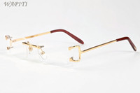 lunettes en or vintage achat en gros de-Lunettes de soleil de luxe pour hommes pour hommes en corne de buffle lunettes 2017 marque sans monture lunettes rétro vintage lunettes de vue or argent métal clear le