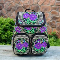 Wholesale Tie Dye Bags Wholesale - New Arrival Vintage Embroidery Backpacks Bags Boho Hobo Hmong Ethnic Shoppers Bag Women's Shoulder Messenger Bags Embroidered Backpack