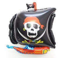 Wholesale Sea Rover - New 10pcs lot irregular skull corsair foil balloons sea rover pirate ship helium balloon Birthday party ballons decoration F096