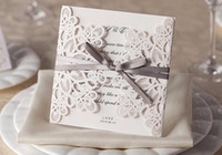 Wholesale Wedding Invitations Ivory Bow - Cheap Chic White Hollow Flower Cut-out With Bow Free Personalized Wedding Invitations Cards Free Shipping Wedding Accessories