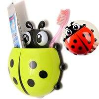Wholesale Suction Hook Wholesale - Wholesale-1X Cute Ladybug Toothbrush Holder Toiletries Toothpaste Holder Bathroom Accessories Suction Hooks Insect Tooth Brush Container
