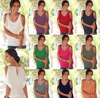 Wholesale Mix Colors S Blouses - Women Crewneck T-shi Tee Solid Hollow Out Half Sleeve Fashion Summer Casual Loose Off Shoulder Blouse Top Shirts Blouse Mix Colors