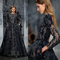 Vestido de noite Ziad Nakad com bolsos Applique Beads Sequins Vestidos pretos Prom Vestidos 3/4 de manga comprida Vestido formal Evening Wear Party High Customize