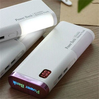 Wholesale External Battery Lcd - Hot Sale Chameleon Power bank 20000mAh 2 USB backup Powerbank LCD Portable charge Universal external battery with LED Desk lamp